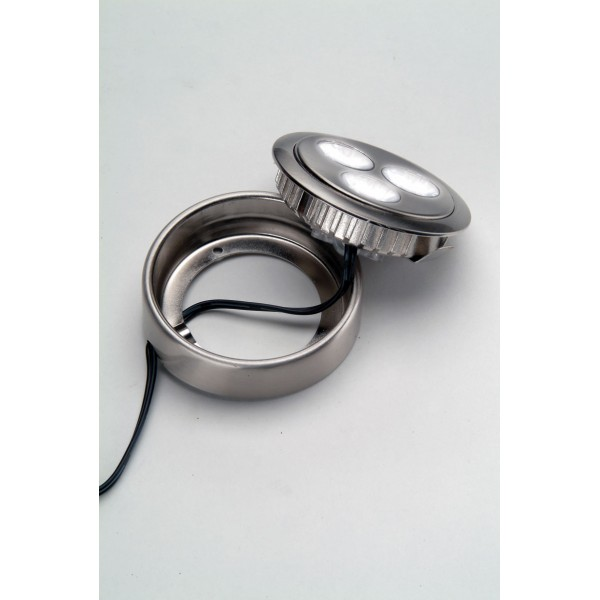 9 Watt LED Swivel Puck Light Set, 12V, Low Voltage, Recess/Surface Mount, Brushed Chrome